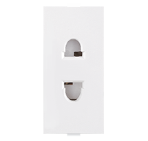 6A 1 Module 2 Pin Socket (with Shutter)