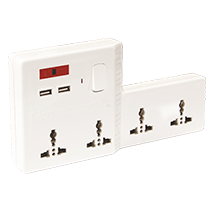 Power Strip (Four 13A Sockets, 2 USB Charger Ports
