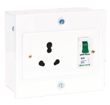 Heavy Duty Socket with Shutter & MCB with Metal Box for Surface Mounting