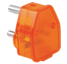 16A 3 Pin Plug Top with Indicator Orange / Clear